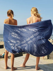 Hammam towel LEAF - 100x185 cm - dark blue