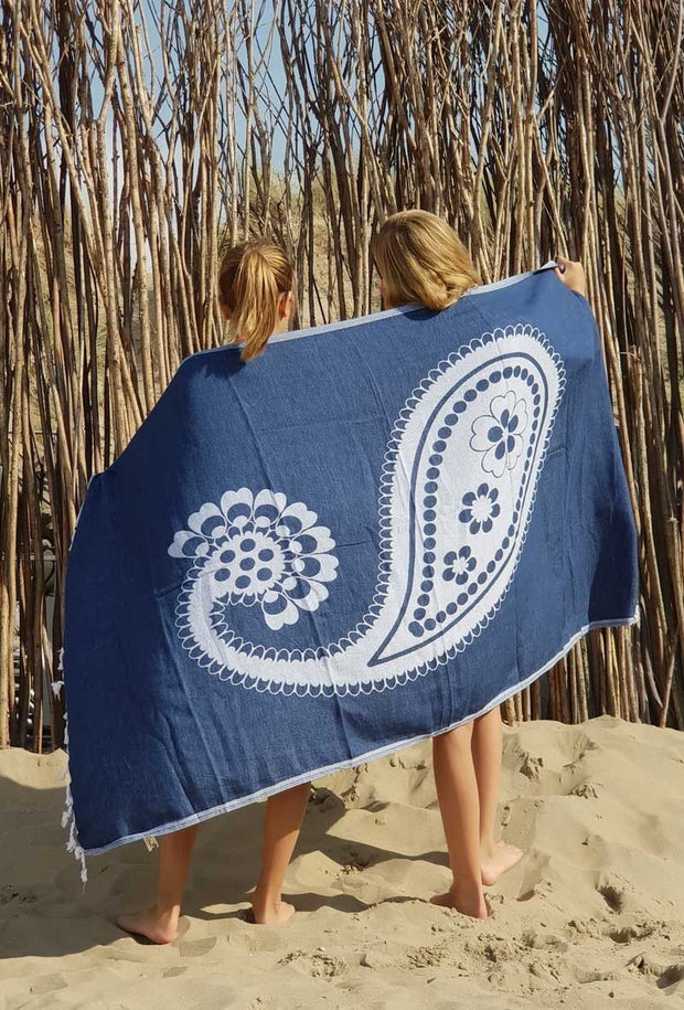 Hammam beach towel PAISLEY - 100x185 cm -dark blue