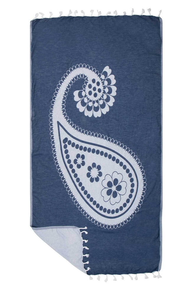 Hammam turkish towel PAISLEY - 100x185 cm -dark blue