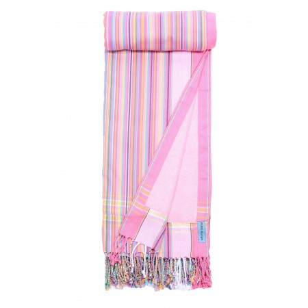 Kikoy SWEET PINK STRIPES - 90 x 160 cm