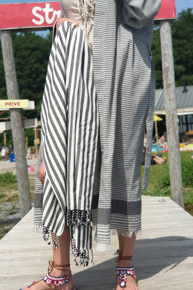 Beach kimono ASYA - 1 SIZE - grey and white