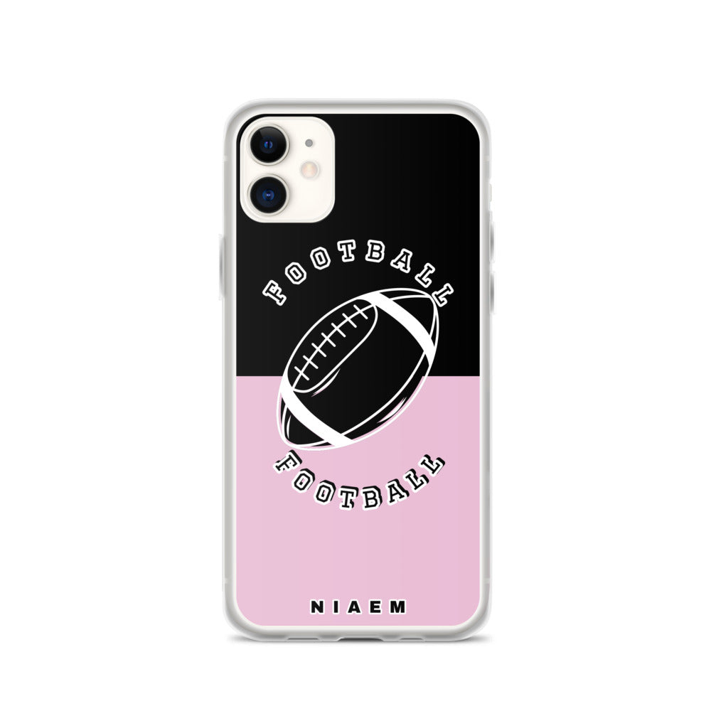 Football iPhone Case (Black & Pink 4)