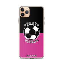 Load image into Gallery viewer, Soccer iPhone Case (Black & Pink 5)