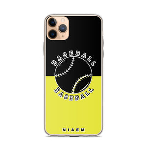 Baseball iPhone Case (Black & Yellow 3)