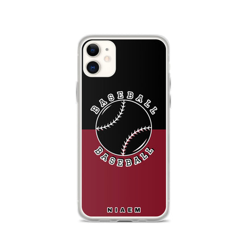 Baseball iPhone Case (Black & Red 2)