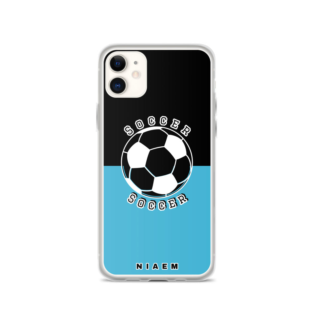 Soccer iPhone Case (Black & Blue 7)
