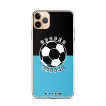 Load image into Gallery viewer, Soccer iPhone Case (Black & Blue 7)