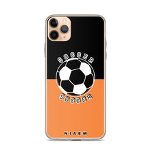 Load image into Gallery viewer, Soccer iPhone Case (Black & Orange 1)