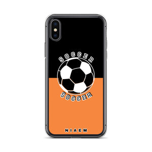 Soccer iPhone Case (Black & Orange 1)