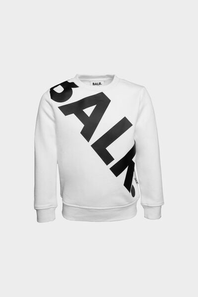 Tilted Logo Crew Neck Kids White