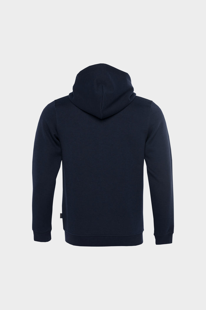 Q-Series Straight Zipped Hoodie Men Navy Blue