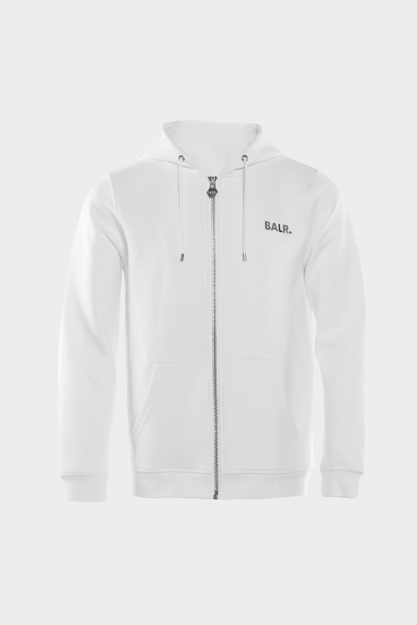 Q-Series Straight Zipped Hoodie Men White