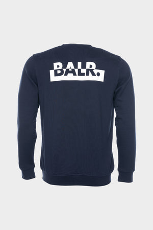 Contrasting Logo Straight Crew Neck Men Navy Blue