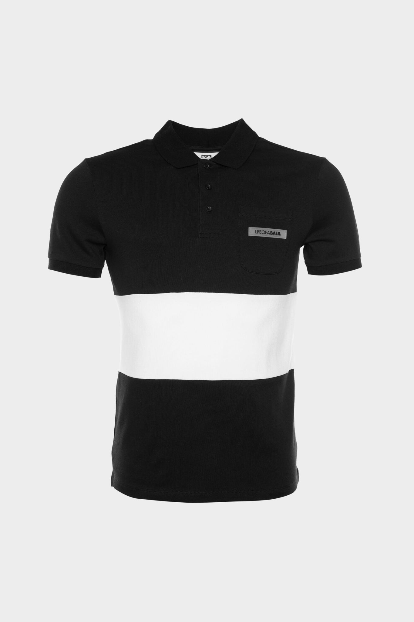 LOAB Colourblock Straight Polo Men Black