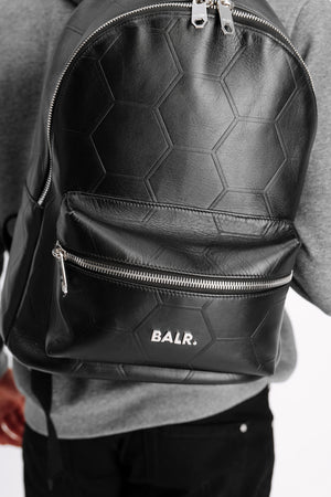 BALR. Hexagon AOP Embossed Leather Backpack Black