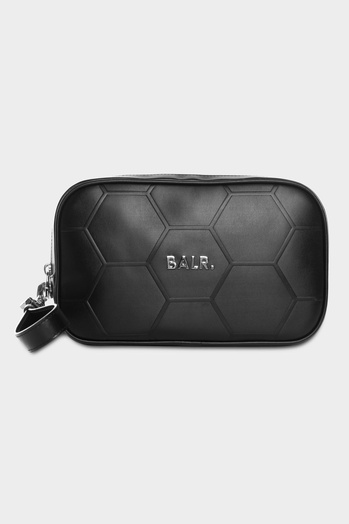 BALR. Hexagon AOP Embossed Leather Toiletry Kit Black