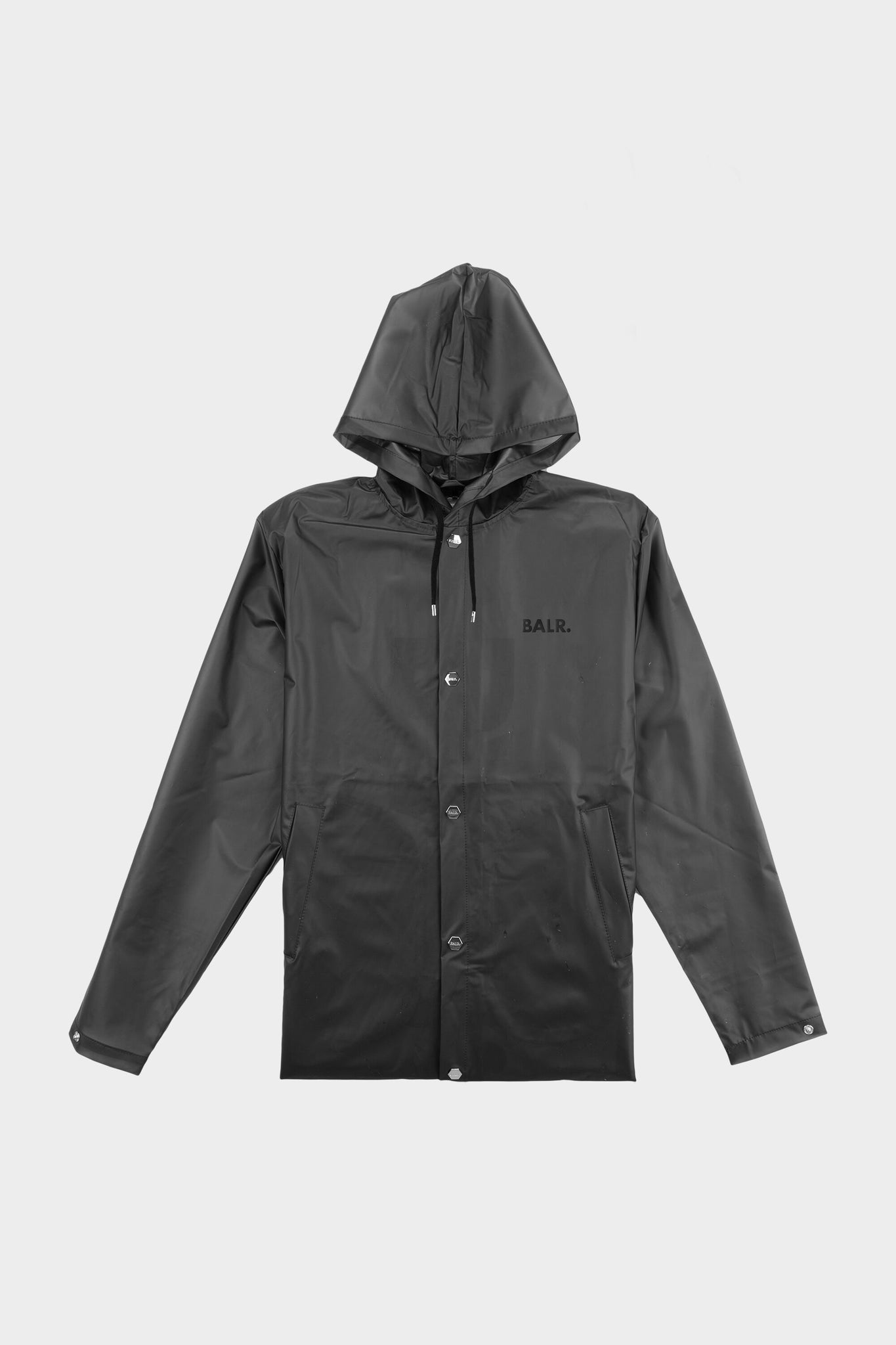 Big Logo Long Hooded Raincoat Black