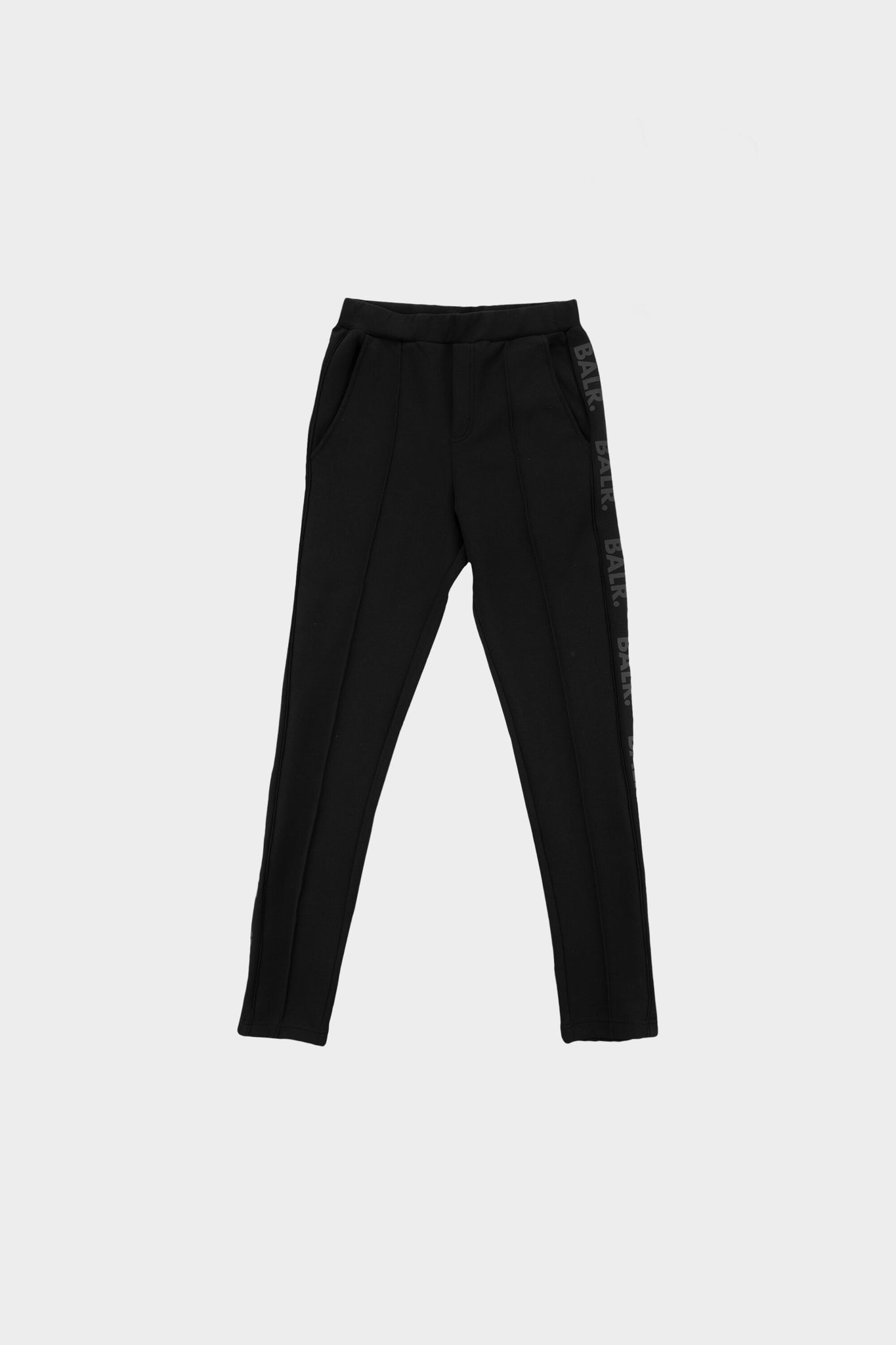 Repeat Tape Straight Pleated Track Pants Black