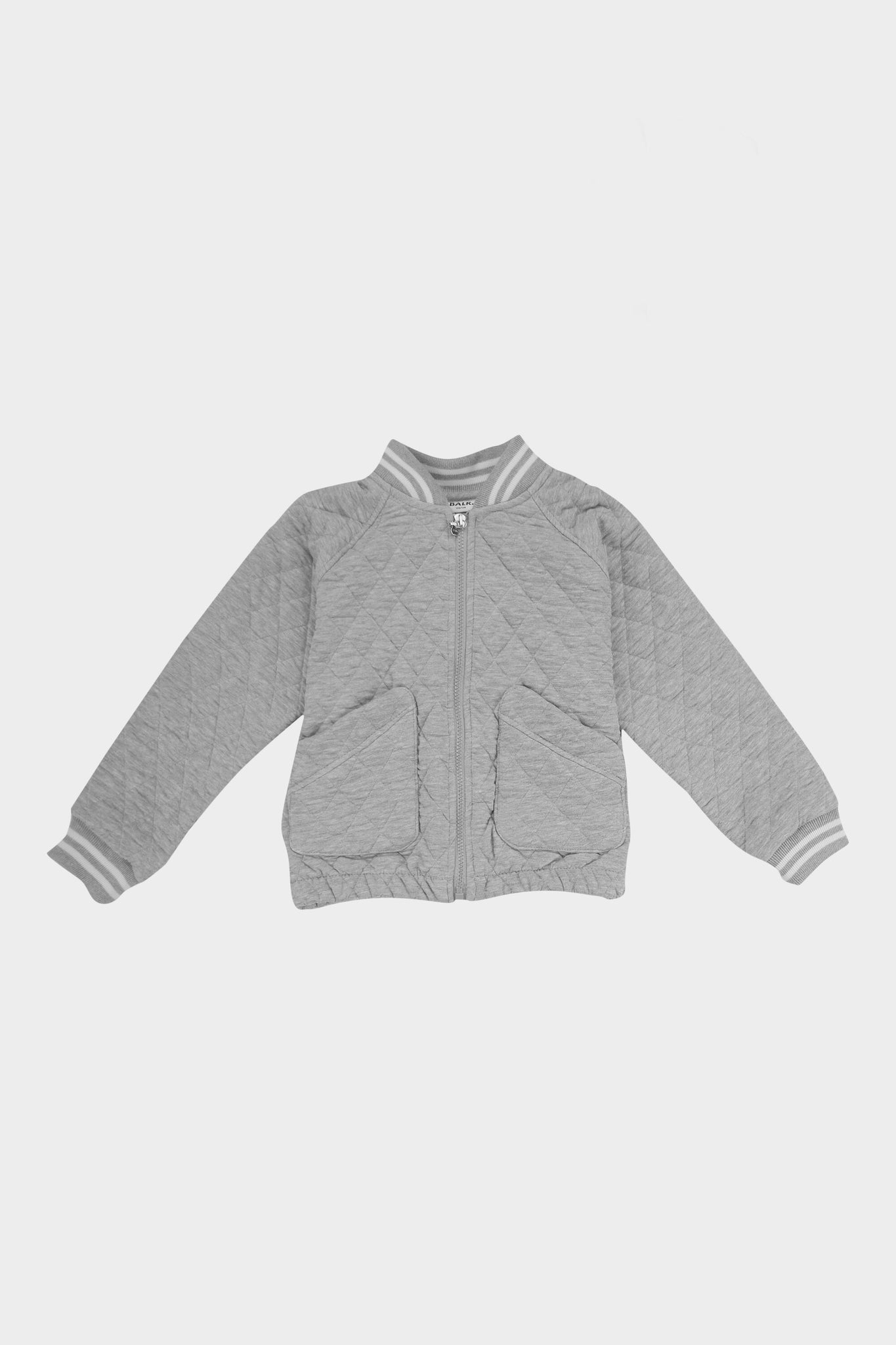 Kids Knitted Bomber Jacket Grey Heather
