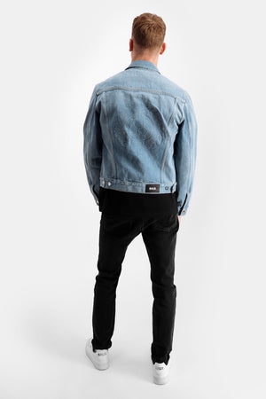 Embossed Straight Denim Jacket Mid Aged Blue