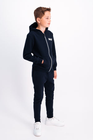 Q-Series Zip Thru Hoodie Kids Navy Blue