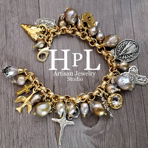 barroque pearls mix of metals charms and crystal bracelet one of a kind handmade