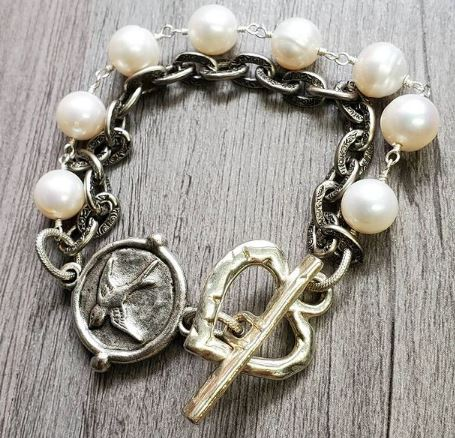 freshwater pearls and textured link silver plated chain with heart toggle clasp sparrow and dragon fly medallion