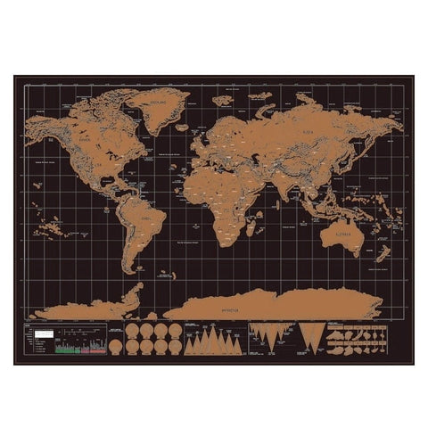 Carte du Monde a Gratter Simple noire