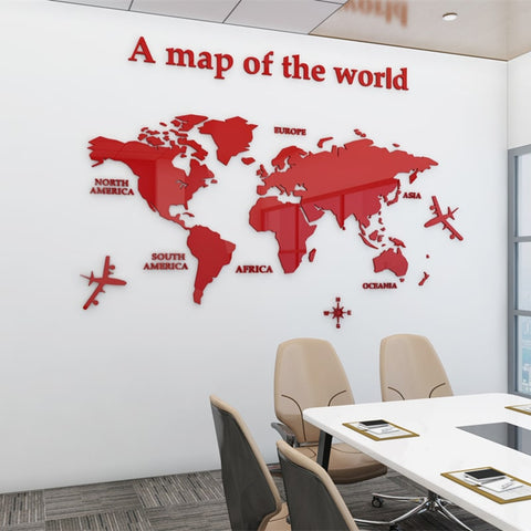 Carte du Monde Deco 3D rouge