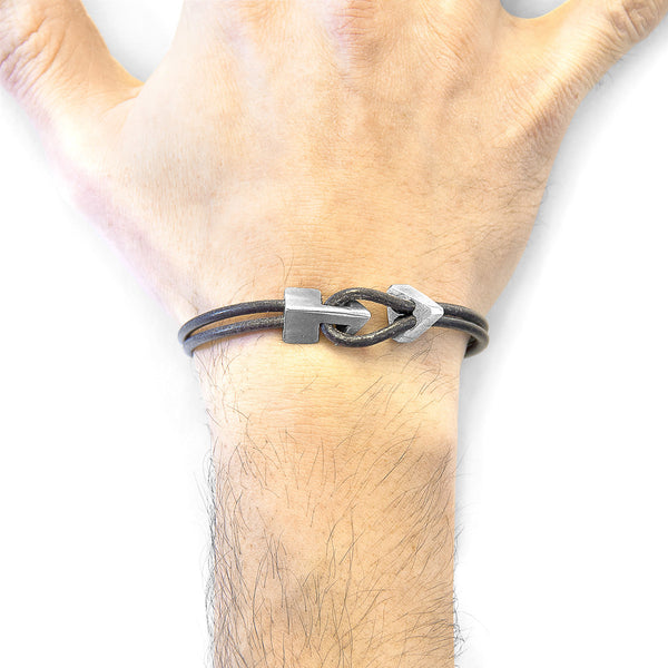 Shadow Grey Brixham Silver & Leather Bracelet - T's Little Somethings