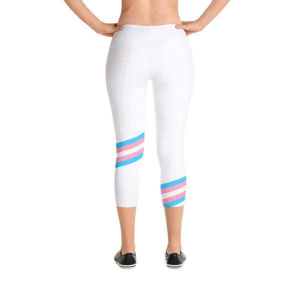 White Pride Flag Print Capri Leggings