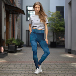 TLS - Yoga Leggings Dark BLUE Watercolour - T's Little Somethings