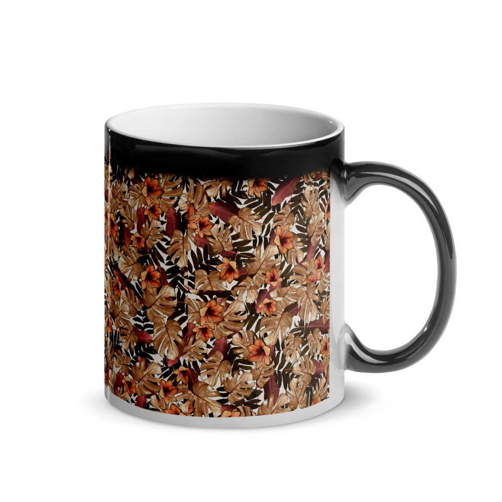 TLS Floral Orange Glossy Magic Mug - T's Little Somethings