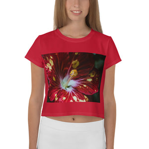 TLS Tropical Flower Red Print Crop Tee - T's Little Somethings