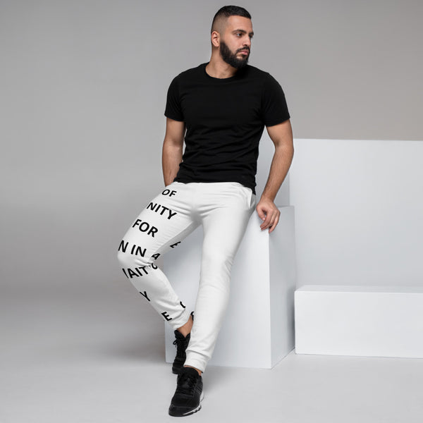 Men's White Joggers Gratitude Text