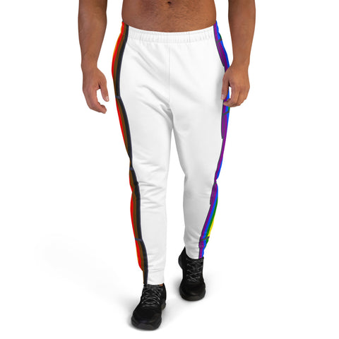 Men's Joggers White - Pride Flag