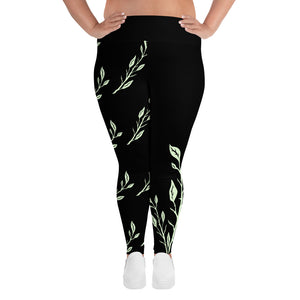 Leaf Branch Print Plus Size Leggings