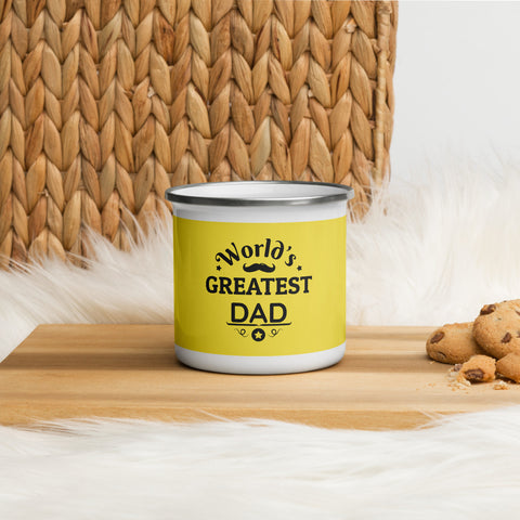 Enamel Mug World's Greatest Dad (Yellow)