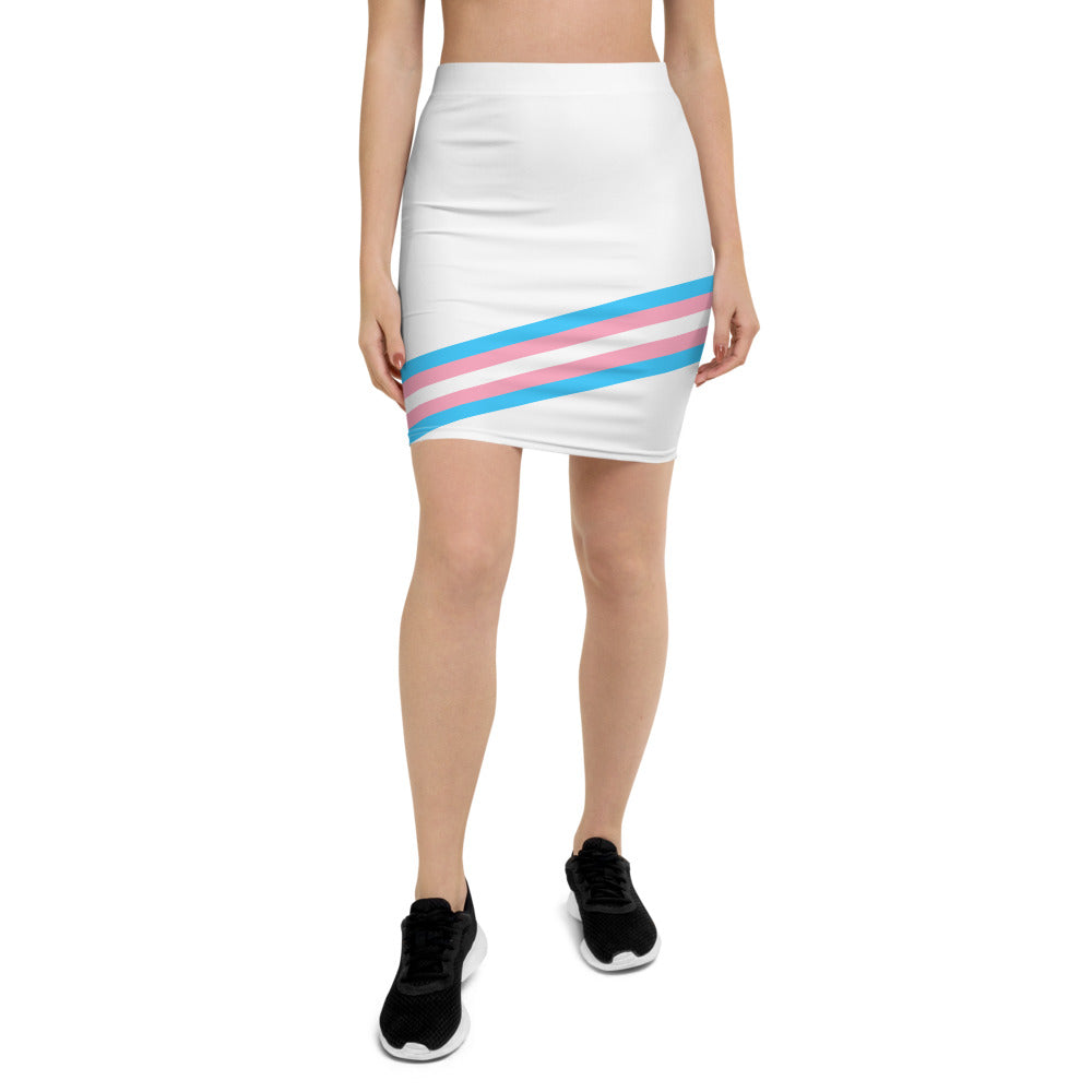 White Pride Flag Print Pencil Skirt