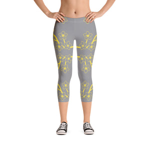 TLS Sakura Print Grey Capri Leggings - T's Little Somethings