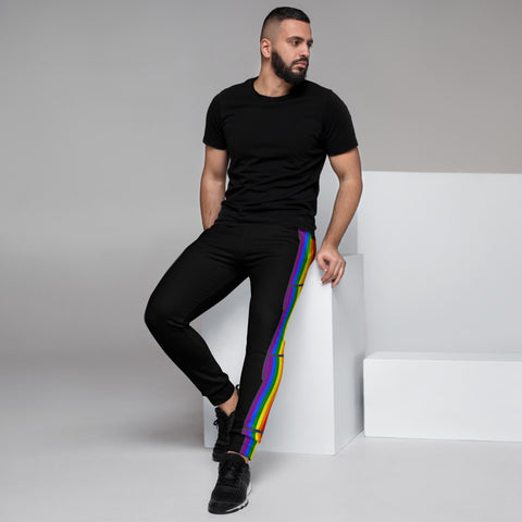 Men's Joggers Black - Pride Flag Print