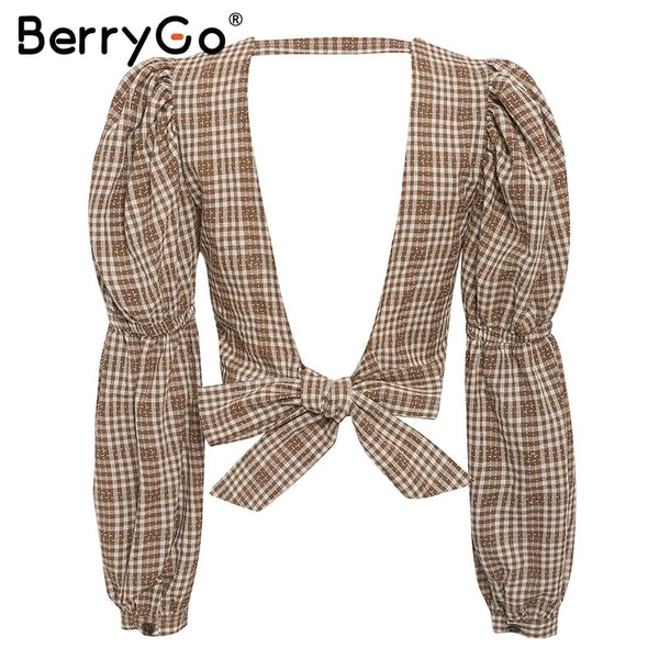 BerryGo Plaid Backless Puff Sleeve Top - T's Little Store - T's Little Somethings