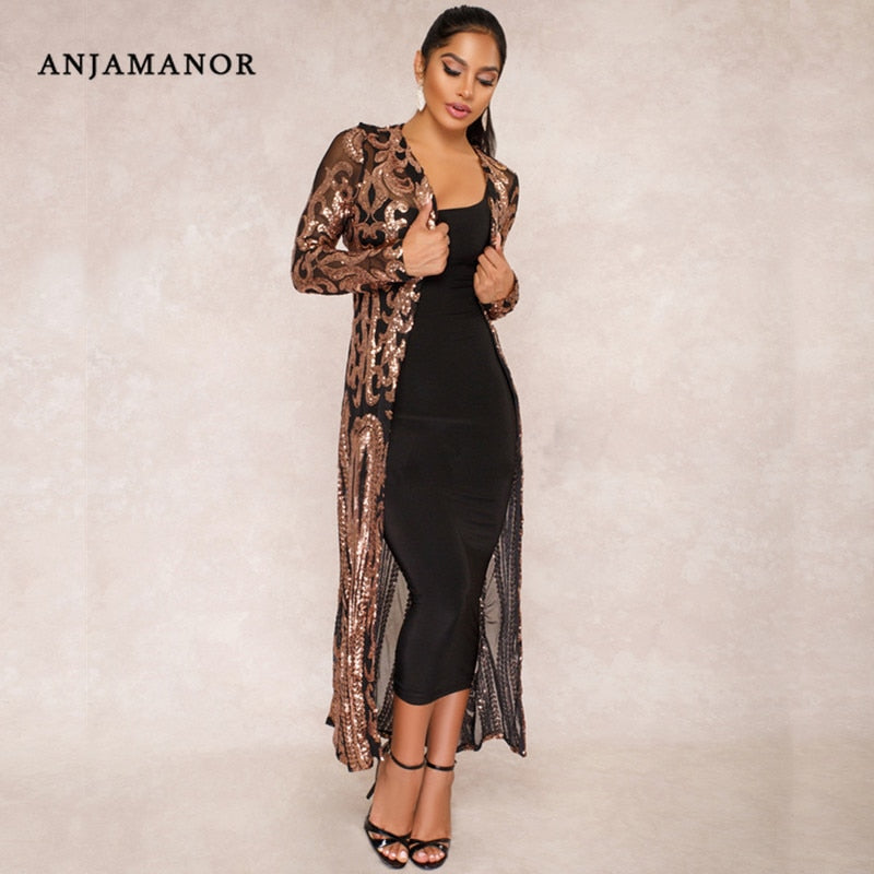 ANJAMANOR embroidered sequin kimono  - T's Little Store