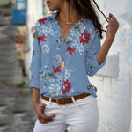 Floral Print Long Sleeve V-neck Top - T's Little Store