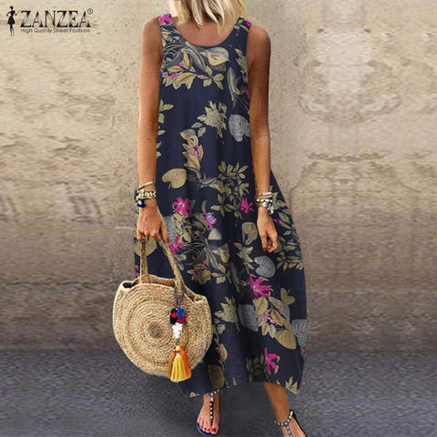 Cotton Floral Printed Sleeveless Dress