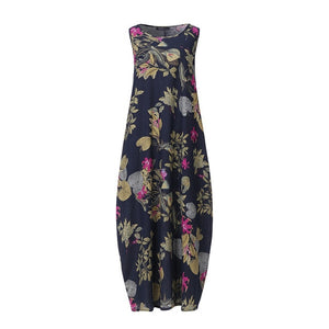 Cotton Floral Printed Sleeveless Dress - T's Little Somethings