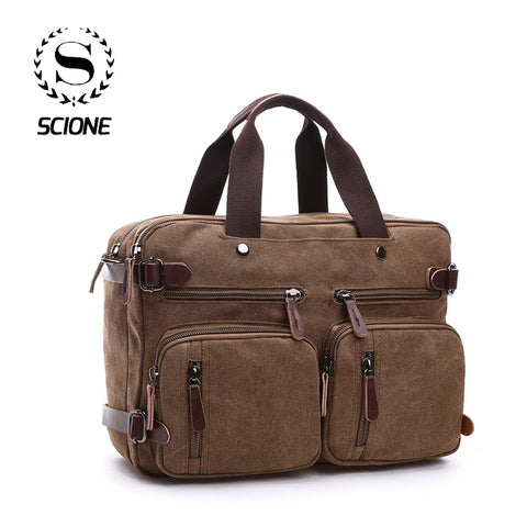 Scione Men Canvas Leather Briefcase