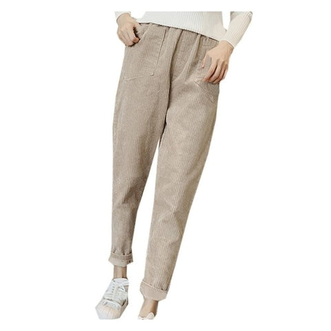 High Waist Loose Corduroy Trousers With Pockets  - T's Little Store