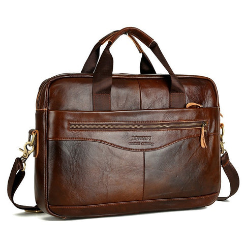 Cowhide Leather Crossbody Briefcase for Men