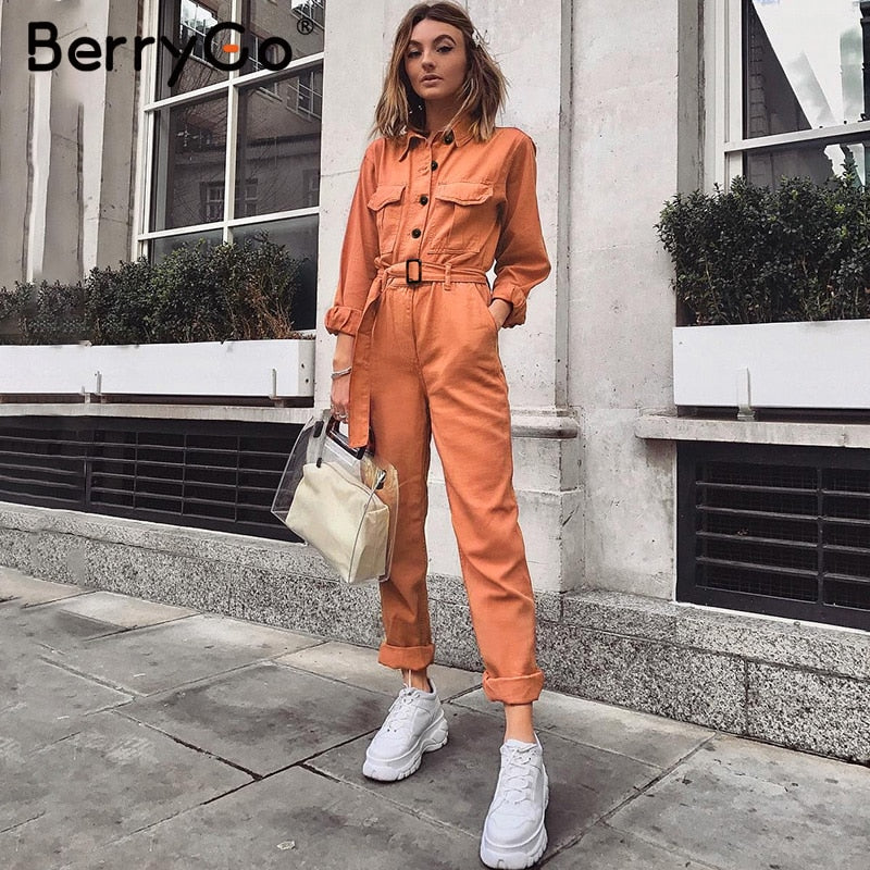 Orange/Khaki Cargo Jumpsuit - T's Little Store